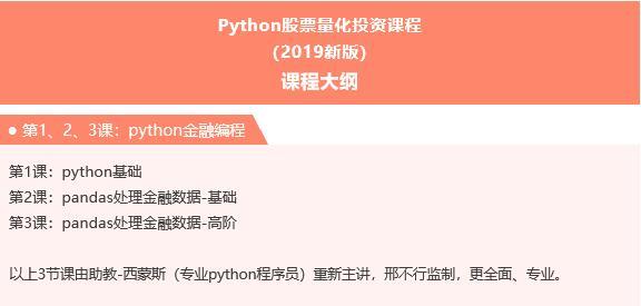 邢不行《Python股票量化投资课程》全集下载地址百度云链接