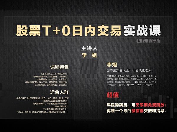 孤独商学院《股票T+0日内交易实战课》视频资料课件下载链接